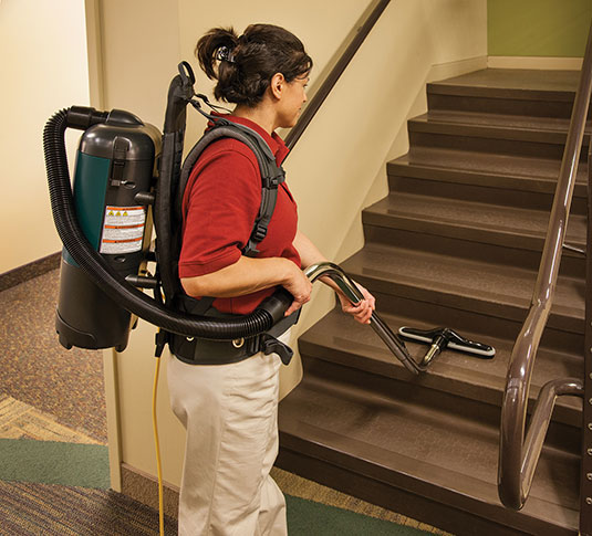 Aspen-6 Backpack Vacuum Cleaning Stairs