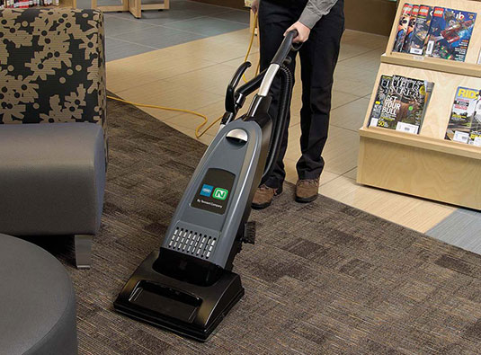 Nobles V-SMU-14 Vacuum being used in a bookstore