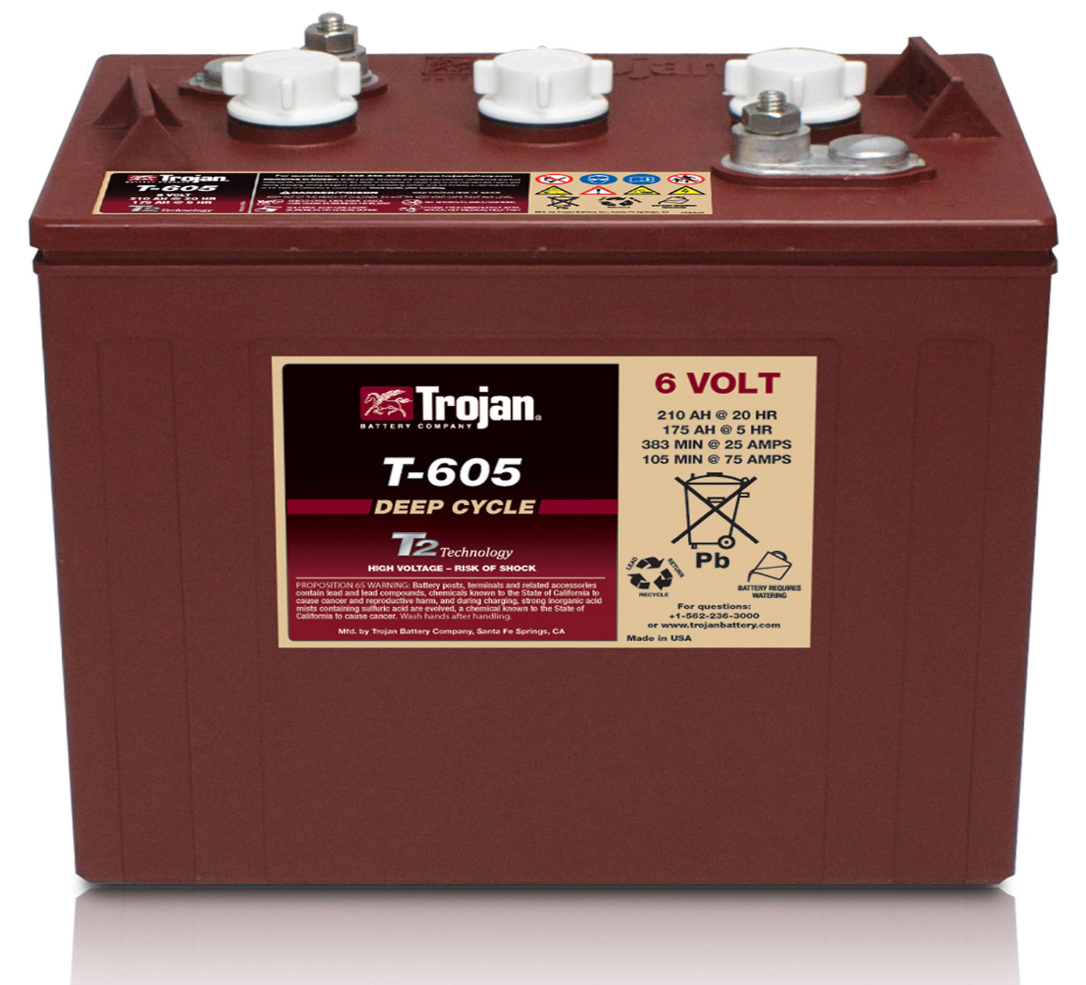 1227180 6 Volt Wet Trojan Battery Alt 1